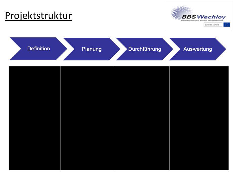 Projektstruktur Thema finden Ziele definieren Handlungs- produkte