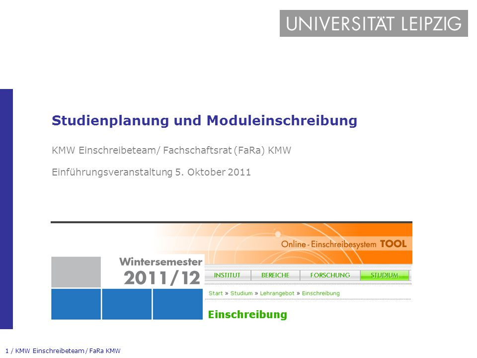 Studienplanung und Moduleinschreibung KMW Einschreibeteam/ Fachschaftsrat (FaRa) KMW Einführungsveranstaltung 5.