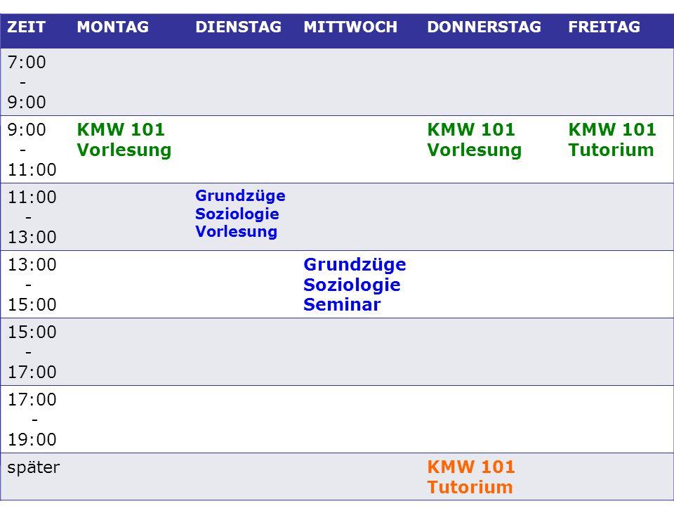 7:00 - 9:00 11:00 KMW 101 Vorlesung Tutorium 13:00 15:00 Seminar 17:00