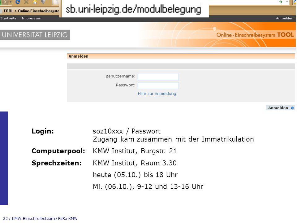 Login: soz10xxx / Passwort Zugang kam zusammen mit der Immatrikulation