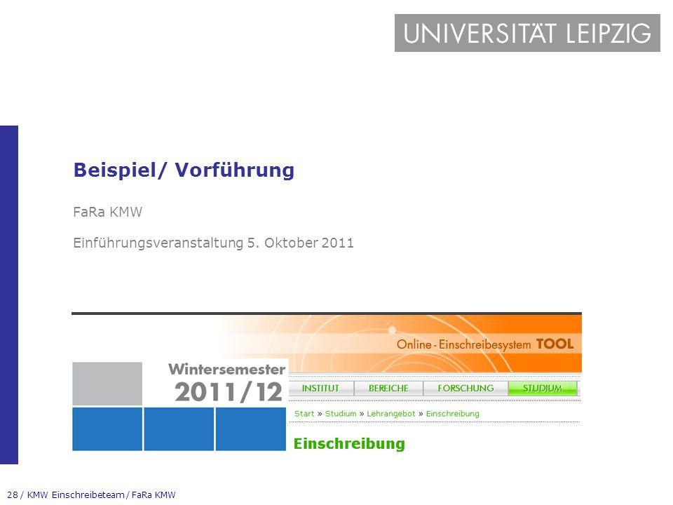 Beispiel/ Vorführung FaRa KMW Einführungsveranstaltung 5. Oktober 2011