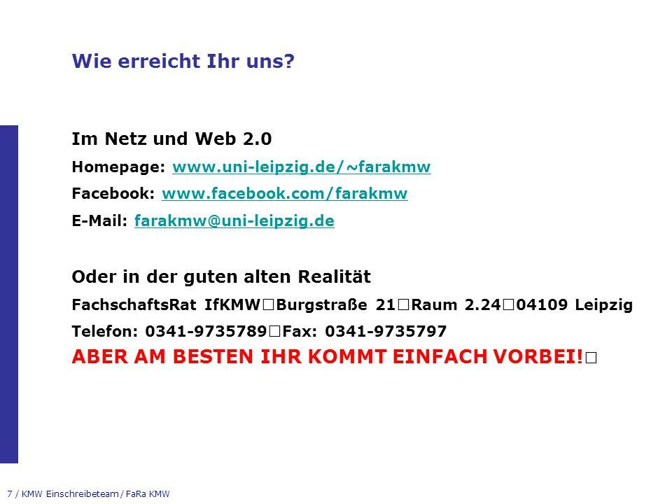 Wie erreicht Ihr uns Im Netz und Web 2.0