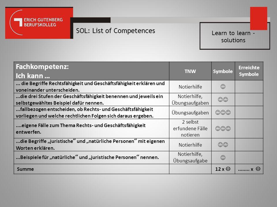 Fachkompetenz: Ich kann … SOL: List of Competences