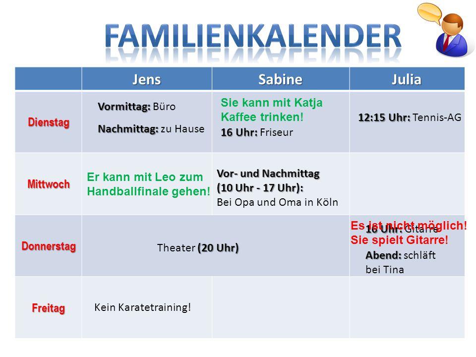 FAMILIENKALENDER Jens Sabine Julia Dienstag Mittwoch