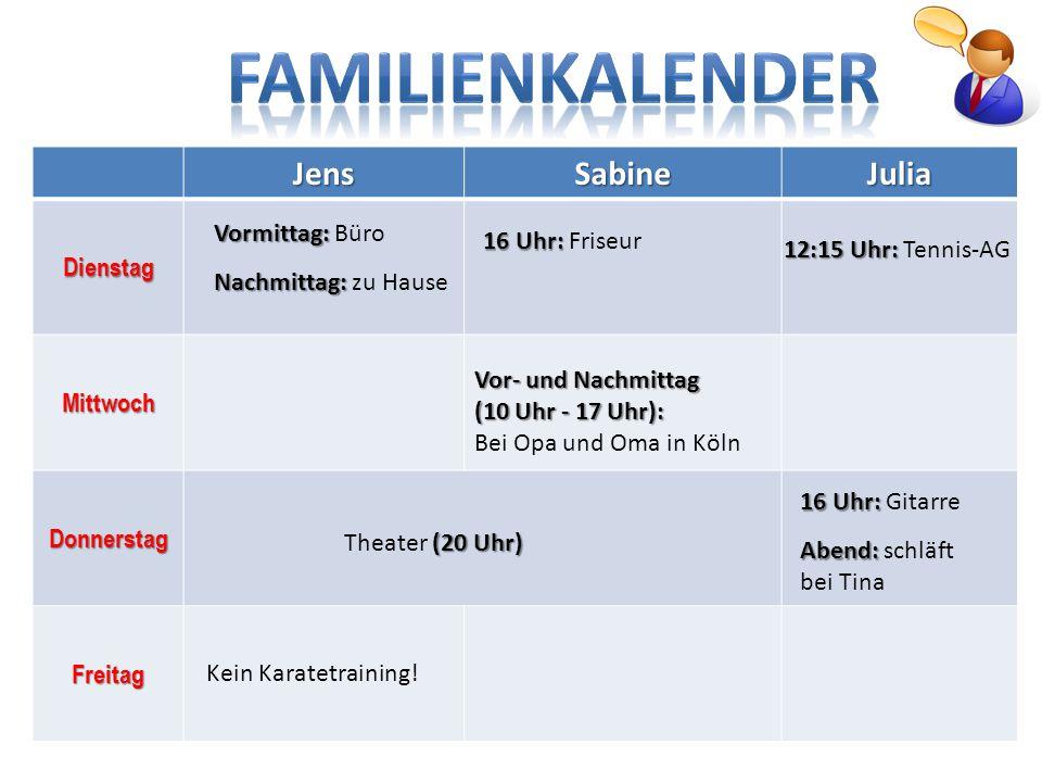 FAMILIENKALENDER Jens Sabine Julia Dienstag Mittwoch Vormittag: Büro