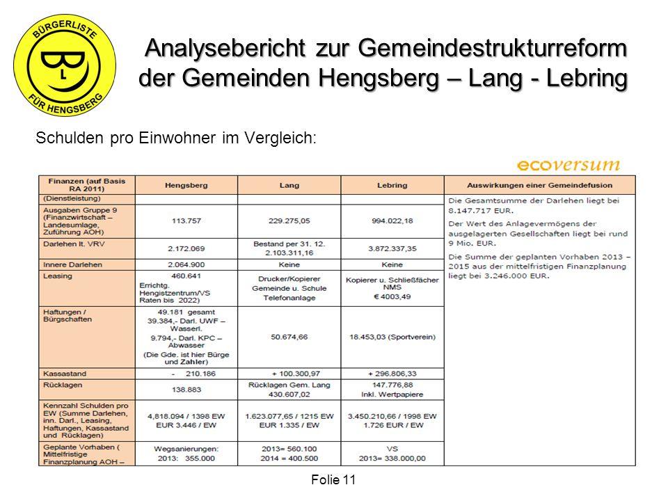 Analysebericht zur Gemeindestrukturreform der Gemeinden Hengsberg – Lang - Lebring