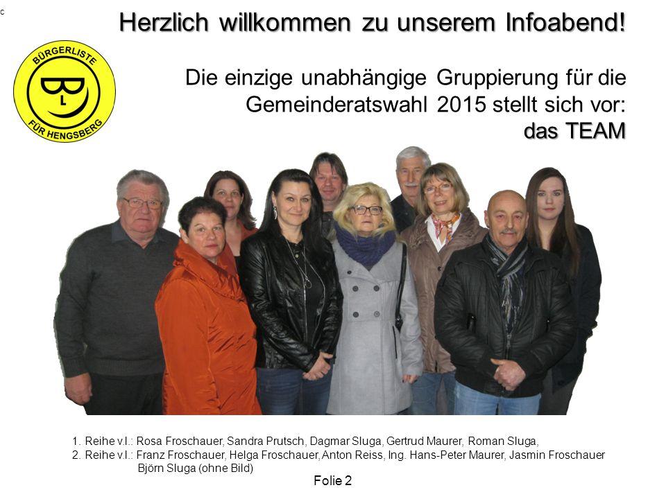c Herzlich willkommen zu unserem Infoabend! Die einzige unabhängige Gruppierung für die Gemeinderatswahl 2015 stellt sich vor: das TEAM.