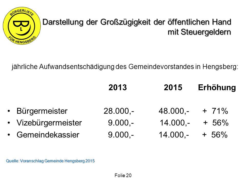 Darstellung der Großzügigkeit der öffentlichen Hand mit Steuergeldern