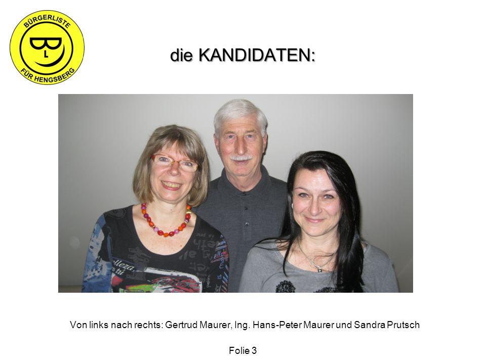 die KANDIDATEN: Von links nach rechts: Gertrud Maurer, Ing.