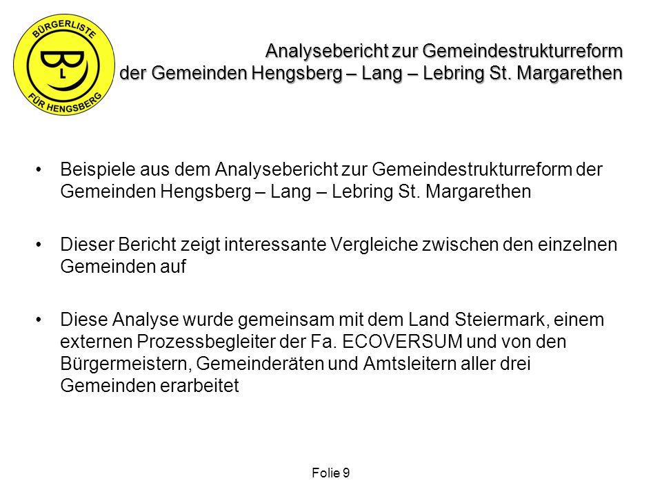 Analysebericht zur Gemeindestrukturreform der Gemeinden Hengsberg – Lang – Lebring St. Margarethen