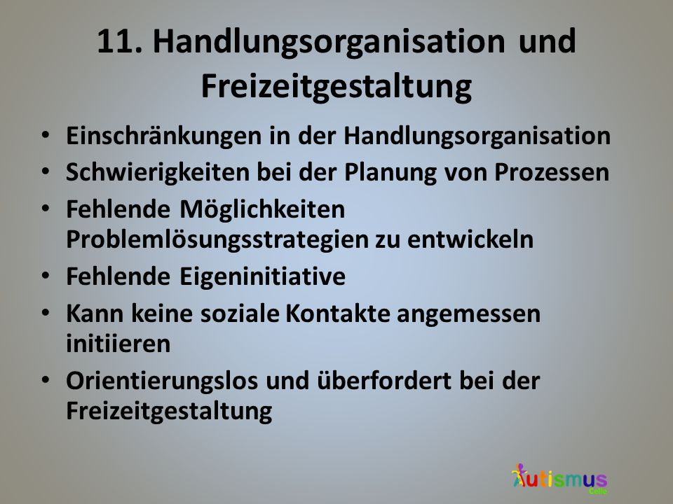 11. Handlungsorganisation und Freizeitgestaltung