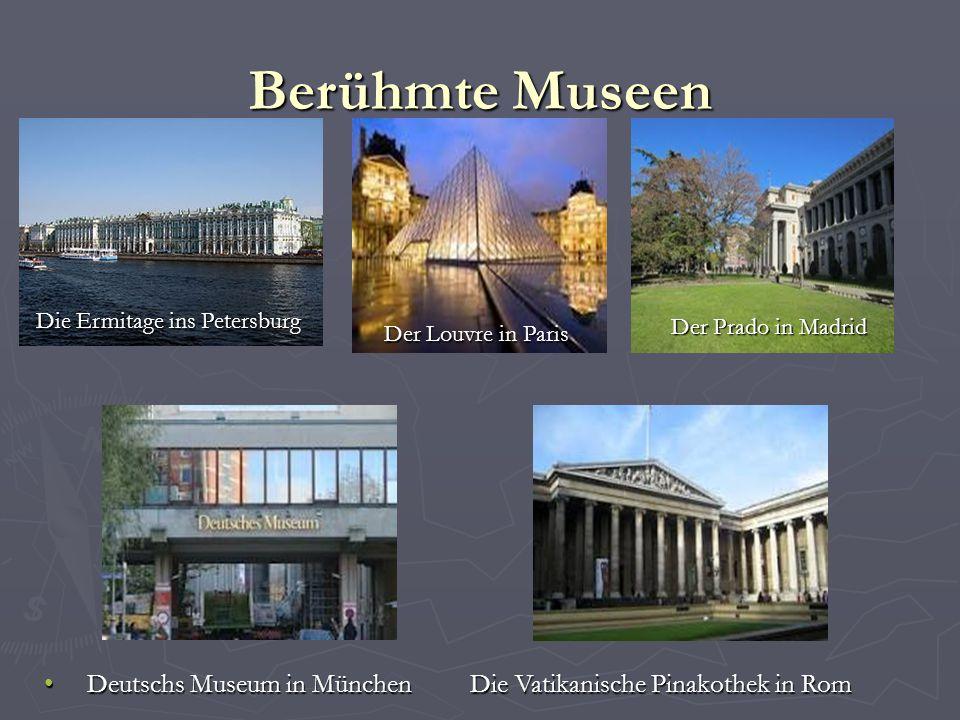 Berühmte Museen Die Ermitage ins Petersburg. Der Prado in Madrid. Der Louvre in Paris.