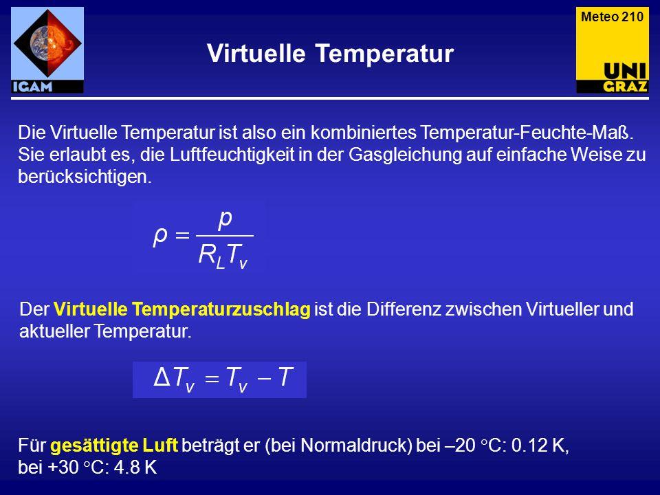 Meteo 210 Virtuelle Temperatur. Die Virtuelle Temperatur ist also ein kombiniertes Temperatur-Feuchte-Maß.