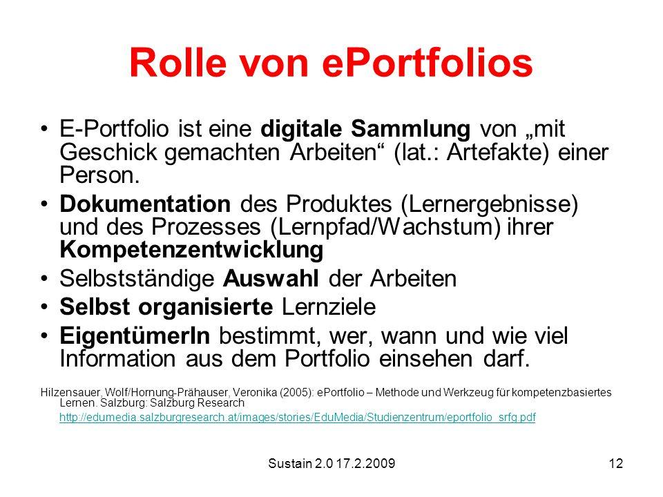 """Rolle von ePortfolios E-Portfolio ist eine digitale Sammlung von """"mit Geschick gemachten Arbeiten (lat.: Artefakte) einer Person."""