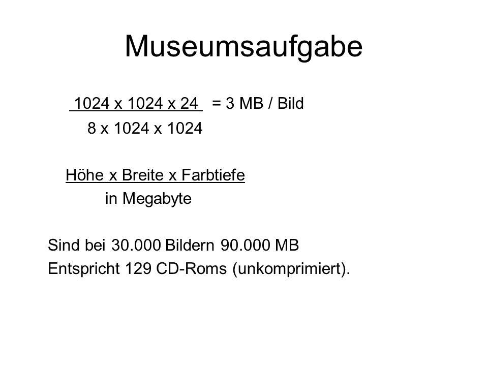 Museumsaufgabe 1024 x 1024 x 24 = 3 MB / Bild 8 x 1024 x 1024