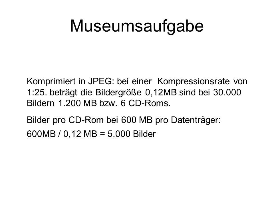 Museumsaufgabe Bilder pro CD-Rom bei 600 MB pro Datenträger: