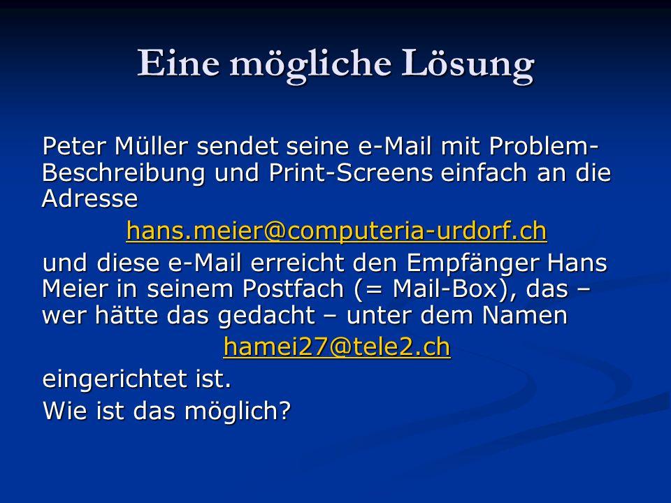 Eine mögliche Lösung Peter Müller sendet seine e-Mail mit Problem-Beschreibung und Print-Screens einfach an die Adresse.