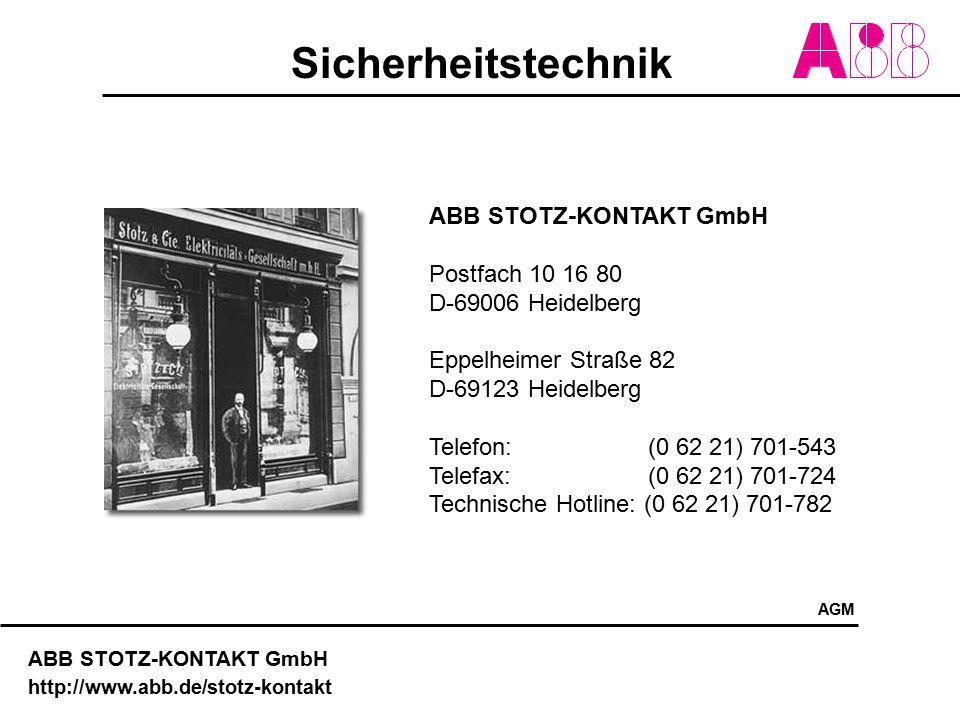 ABB STOTZ-KONTAKT GmbH Postfach 10 16 80 D-69006 Heidelberg
