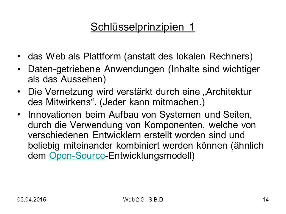 Schlüsselprinzipien 1 das Web als Plattform (anstatt des lokalen Rechners) Daten-getriebene Anwendungen (Inhalte sind wichtiger als das Aussehen)