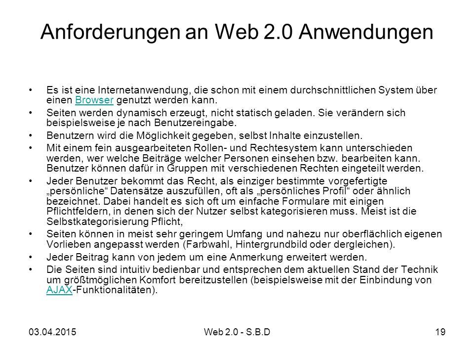 Anforderungen an Web 2.0 Anwendungen