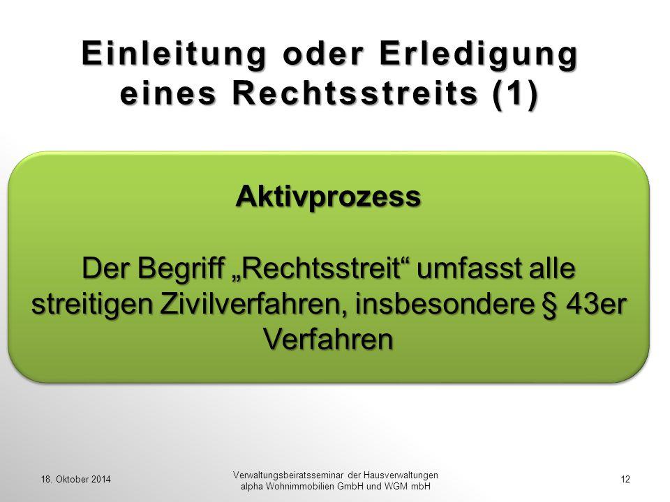 Einleitung oder Erledigung eines Rechtsstreits (1)