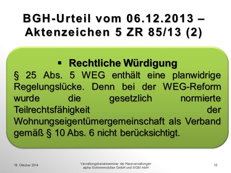 BGH-Urteil vom 06.12.2013 – Aktenzeichen 5 ZR 85/13 (2)
