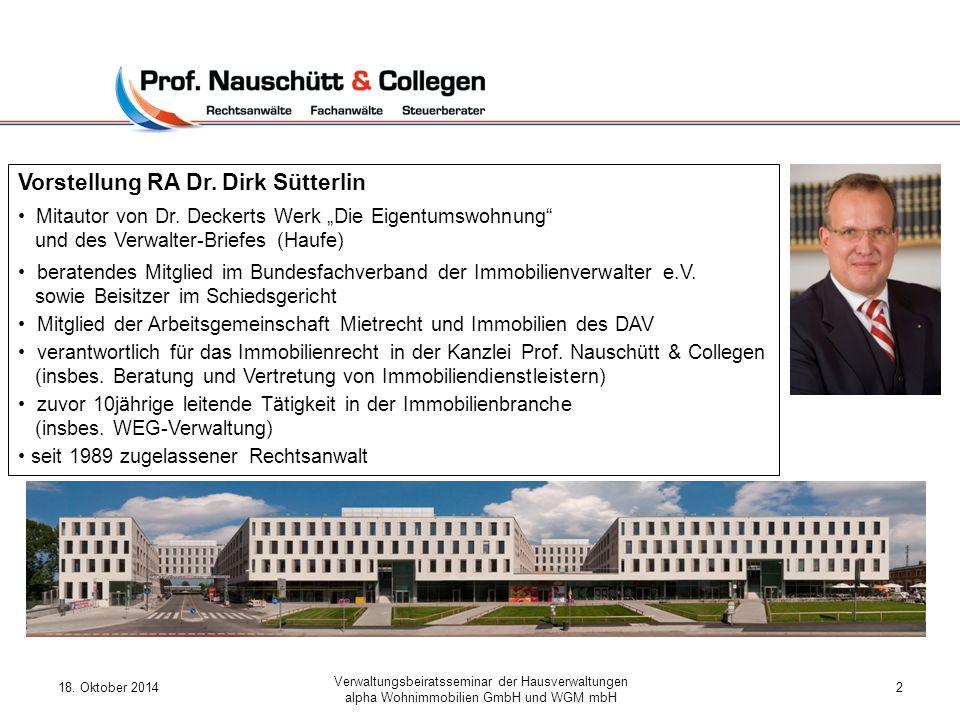 Vorstellung RA Dr. Dirk Sütterlin