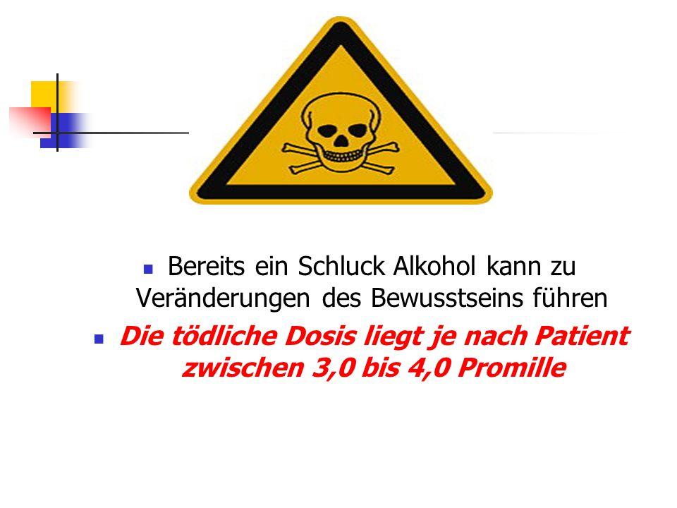 Die tödliche Dosis liegt je nach Patient zwischen 3,0 bis 4,0 Promille