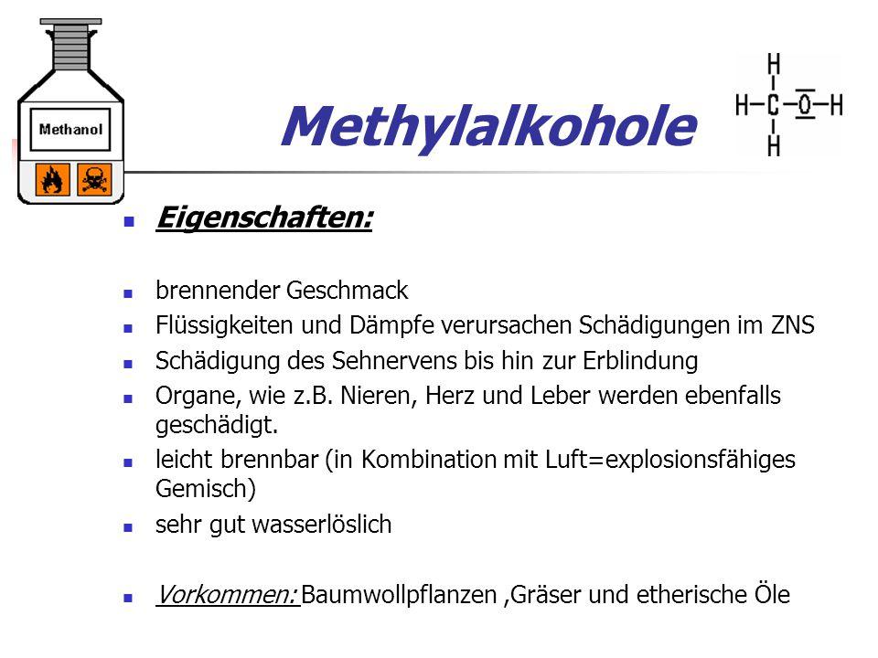 Methylalkohole Eigenschaften: brennender Geschmack