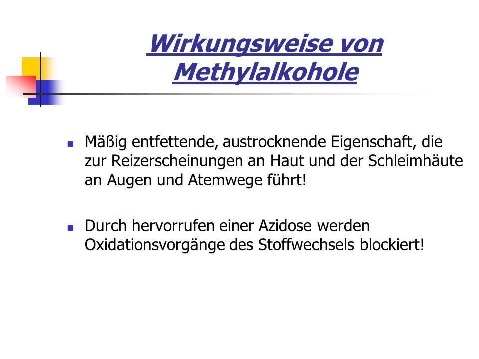 Wirkungsweise von Methylalkohole