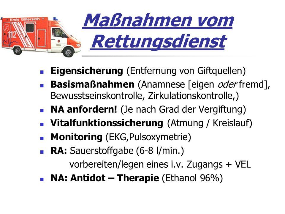 Maßnahmen vom Rettungsdienst