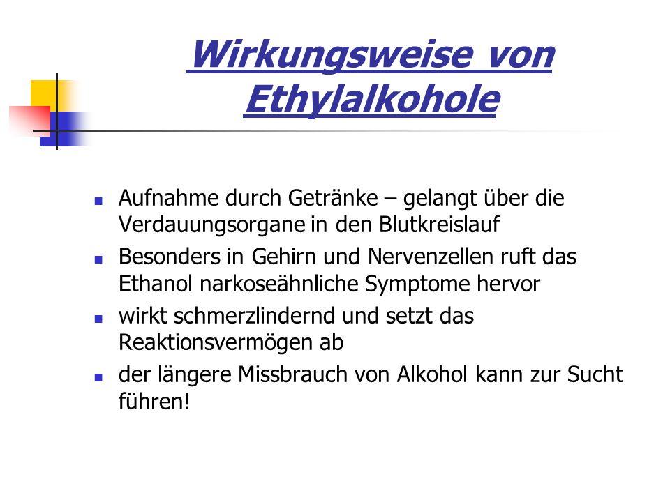 Wirkungsweise von Ethylalkohole