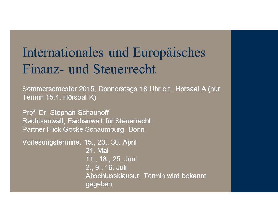 Internationales und Europäisches Finanz- und Steuerrecht