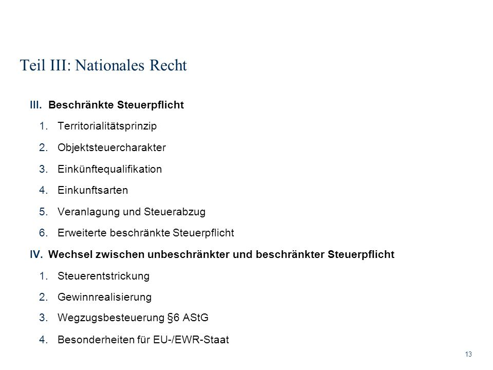 Teil III: Nationales Recht