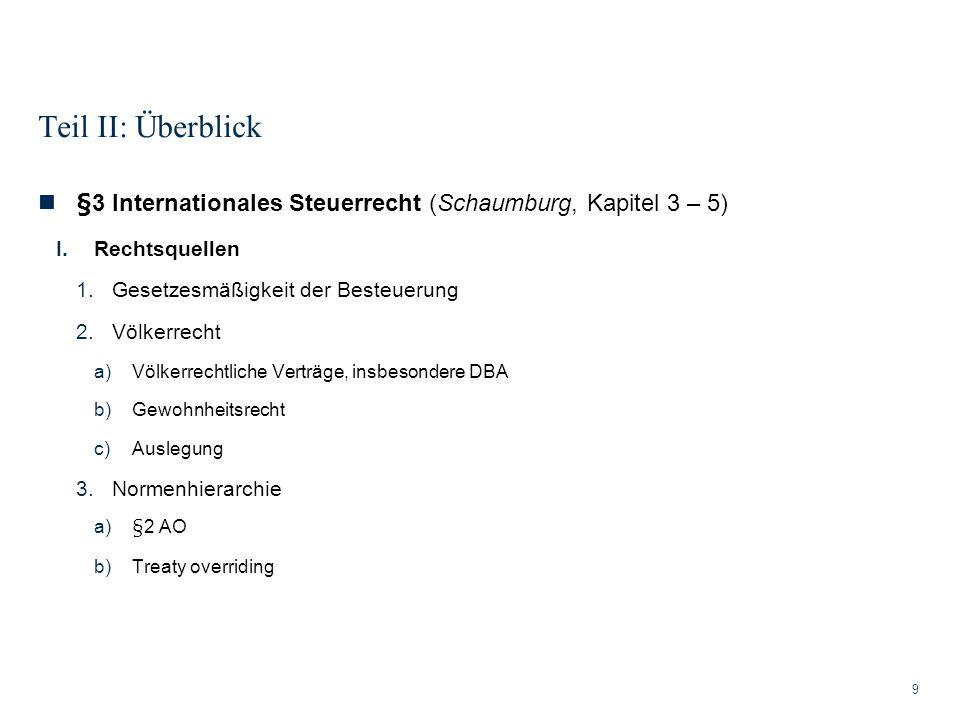 Teil II: Überblick §3 Internationales Steuerrecht (Schaumburg, Kapitel 3 – 5) Rechtsquellen. Gesetzesmäßigkeit der Besteuerung.