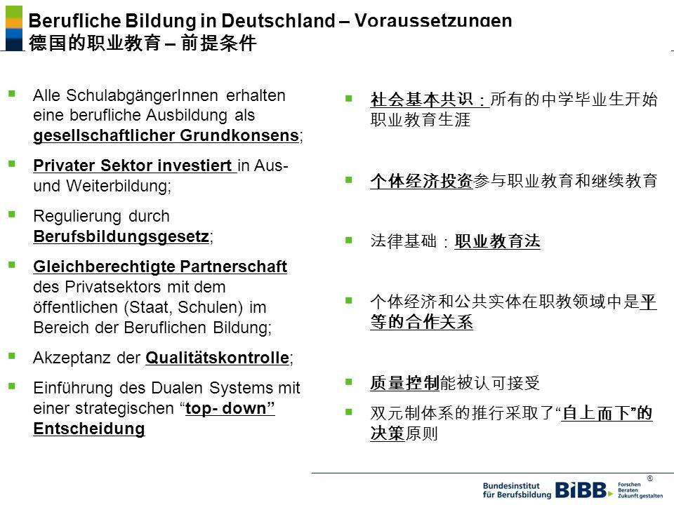 Berufliche Bildung in Deutschland – Voraussetzungen 德国的职业教育 – 前提条件
