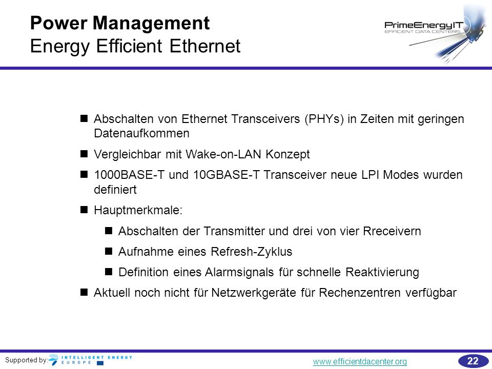 Power Management Energy Efficient Ethernet
