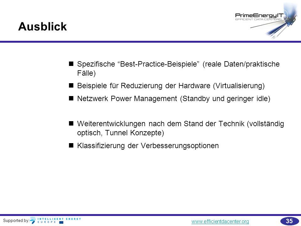 Ausblick Spezifische Best-Practice-Beispiele (reale Daten/praktische Fälle) Beispiele für Reduzierung der Hardware (Virtualisierung)