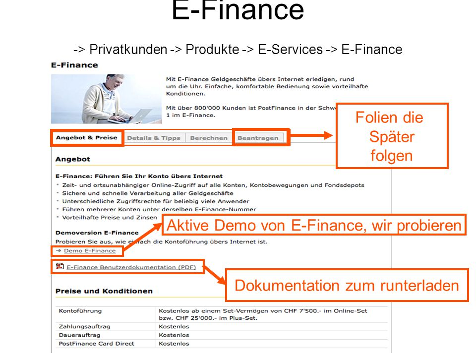E-Finance -> Privatkunden -> Produkte -> E-Services -> E-Finance