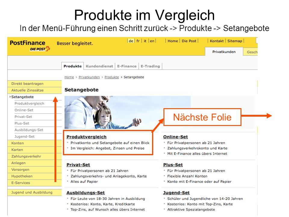 Produkte im Vergleich In der Menü-Führung einen Schritt zurück -> Produkte -> Setangebote
