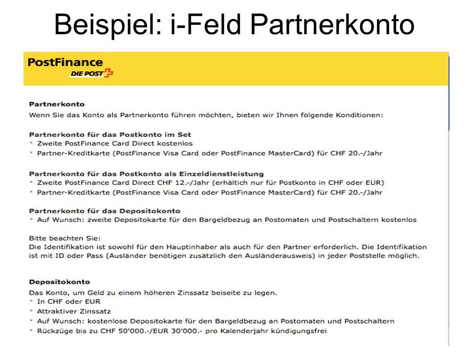 Beispiel: i-Feld Partnerkonto