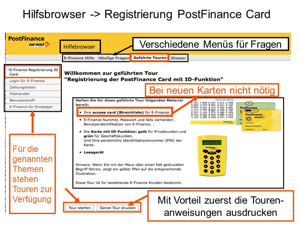 Hilfsbrowser -> Registrierung PostFinance Card