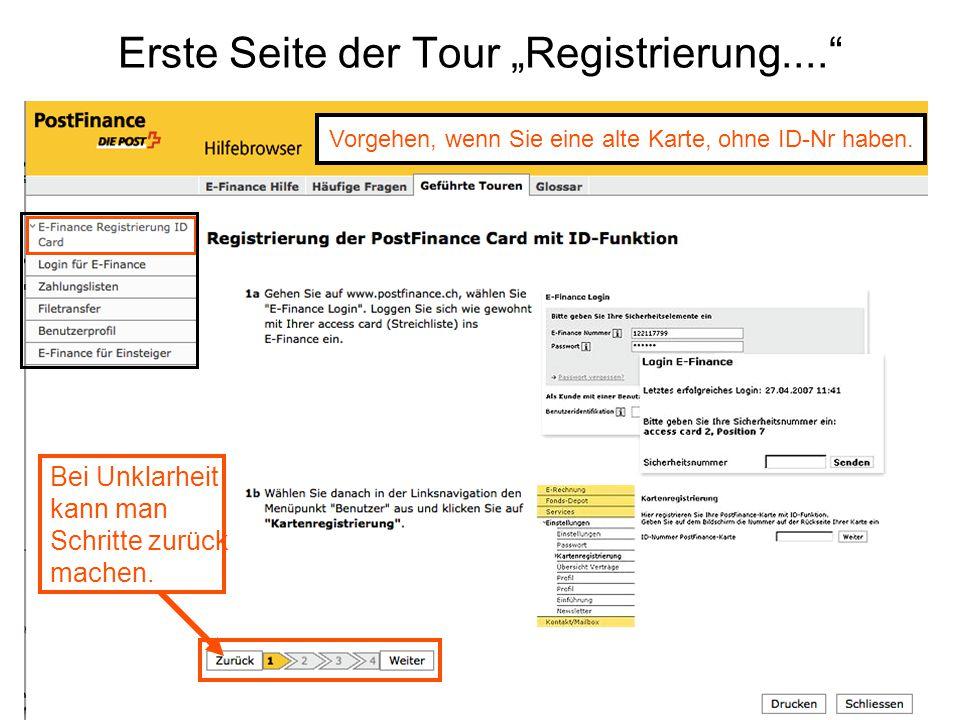 """Erste Seite der Tour """"Registrierung...."""