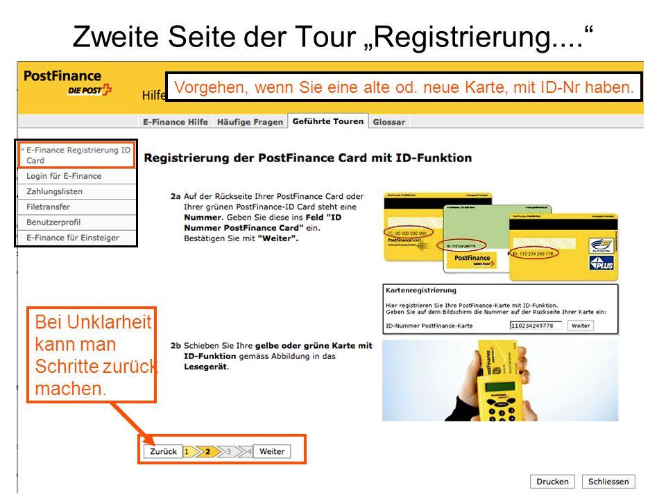 """Zweite Seite der Tour """"Registrierung...."""