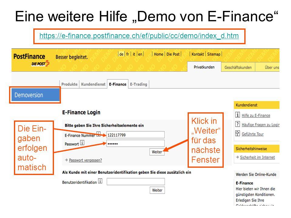 """Eine weitere Hilfe """"Demo von E-Finance"""