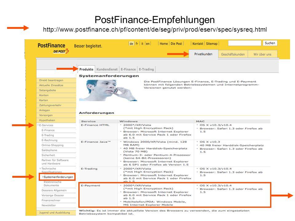 PostFinance-Empfehlungen http://www. postfinance