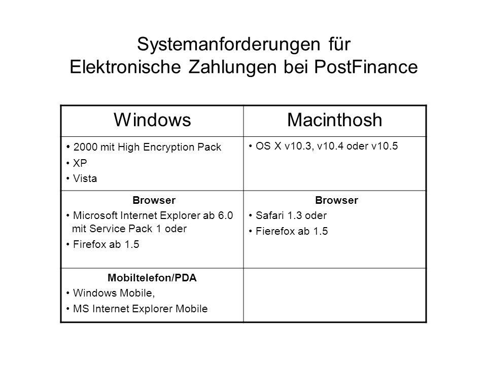 Systemanforderungen für Elektronische Zahlungen bei PostFinance