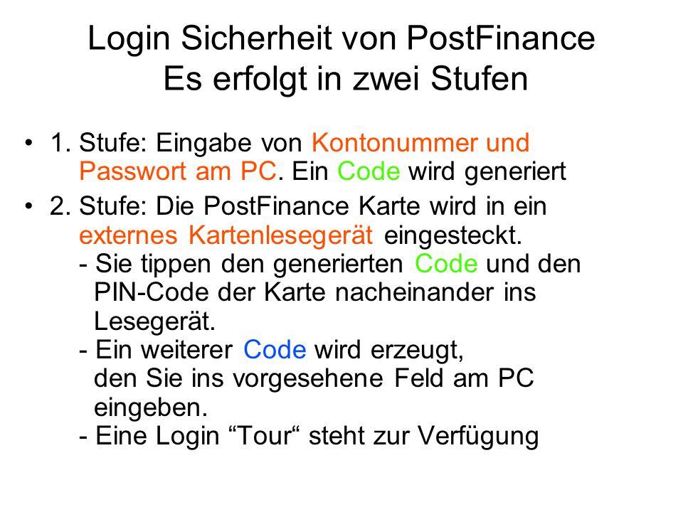 Login Sicherheit von PostFinance Es erfolgt in zwei Stufen