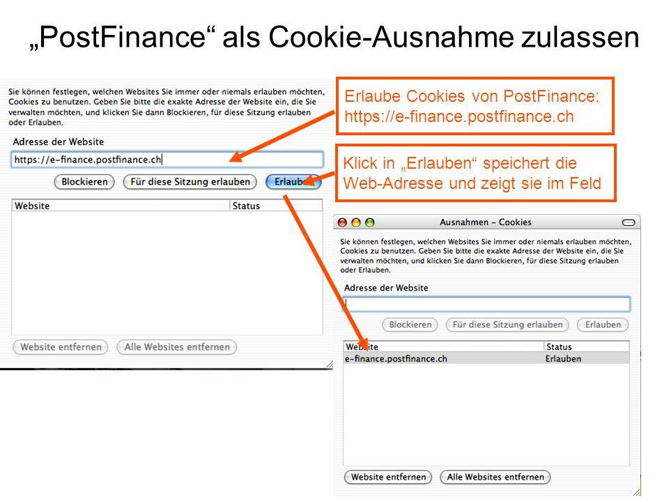 """""""PostFinance als Cookie-Ausnahme zulassen"""