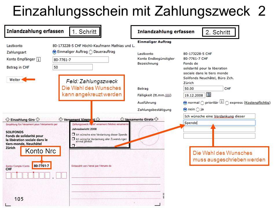 Einzahlungsschein mit Zahlungszweck 2